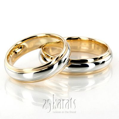 Simple High Polished Carved Design Wedding Band Set