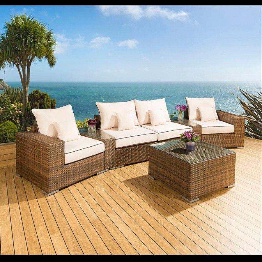 luxury outdoor rattan garden furniture sofa setgroup browncream 27 truly stunning