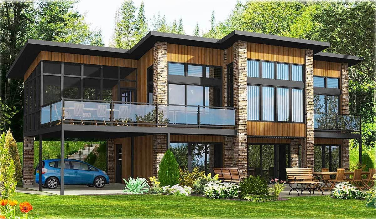Contemporary home plan with all beds down 90241pd cad available canadian corner lot lower floor master metric modern pdf sloping lot