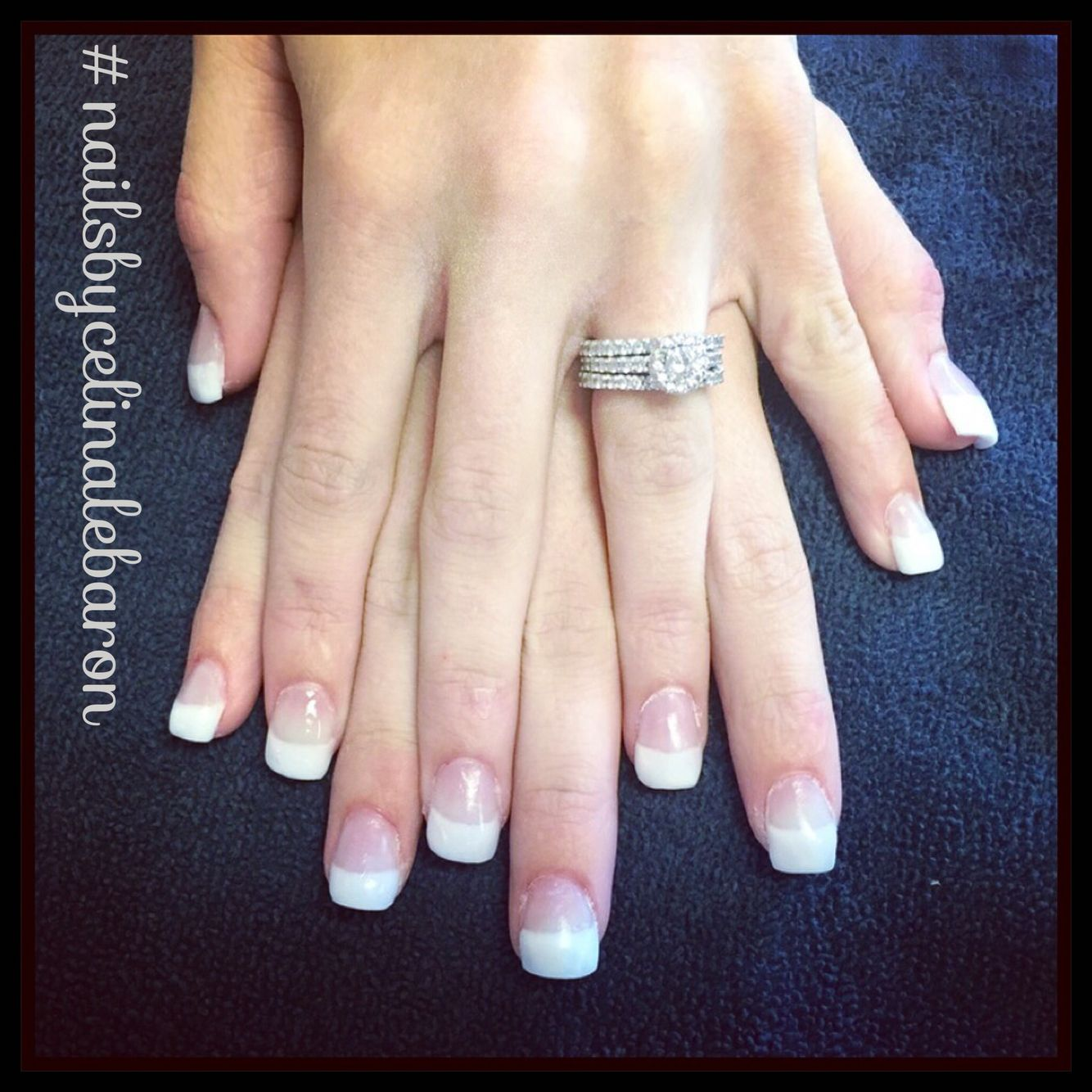 Square french tip acrylics. Pink and white. Nails by Celina Le Baron ...
