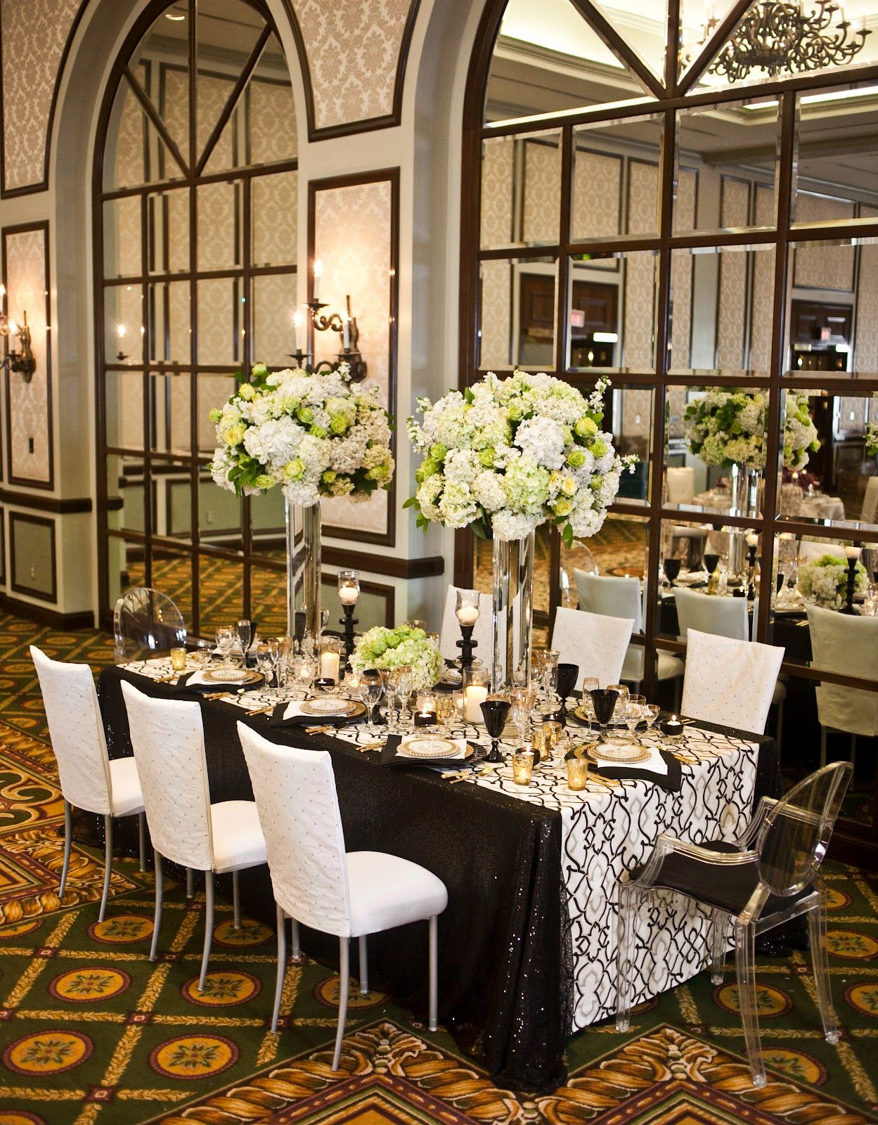 Luxury Black And White Wedding Reception Decor