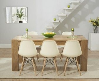 Thames 150cm Solid Oak Dining Table With Charles Eames Style DSW Eiffel Chairs