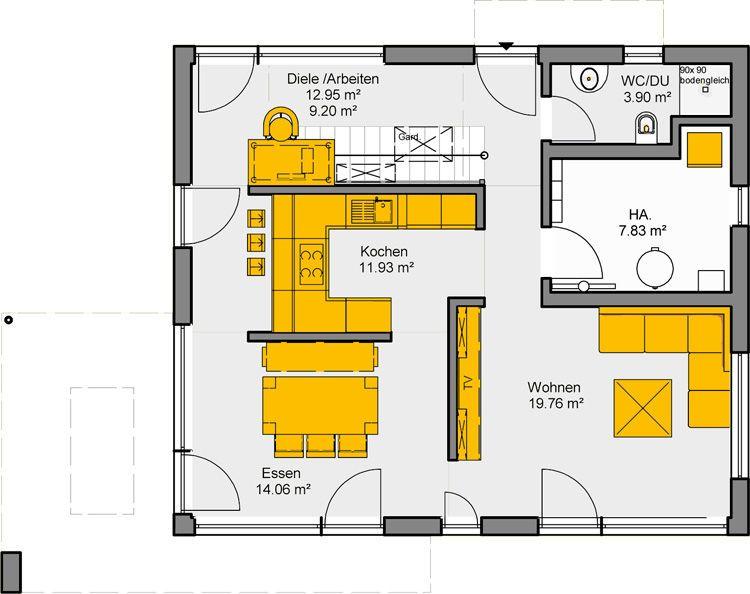 Wohnideen Raumaufteilung puristische wohnidee akzento 135 grundriss eg haus