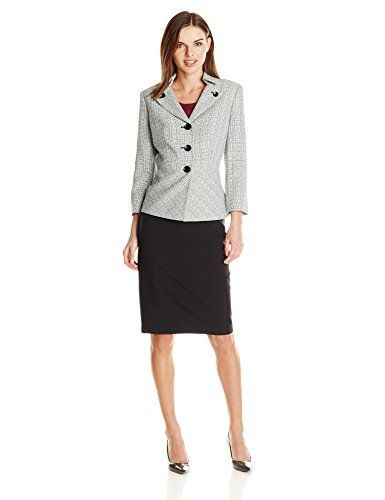 Le Suit Women's 3 Button Notch Collar Jacket and Skirt Suit Set ...