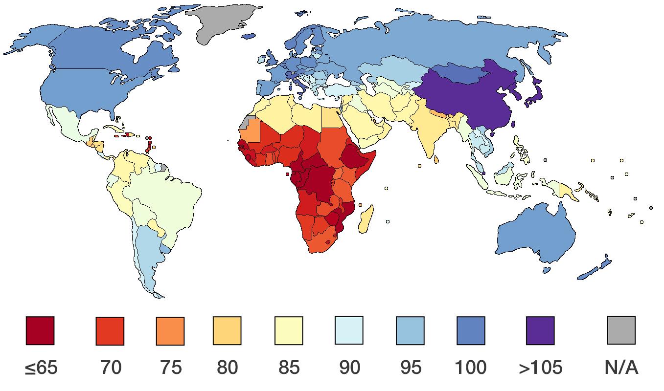 Average national IQs according to IQ and Global Inequality (2002)   Average  iq, World, Map