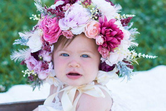 b0589a295 Floral Baby Bonnet - Newborn Photo Prop - Flower Bonnet - Sitter ...