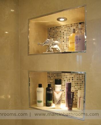 Decorative Bathroom Alcove Storage