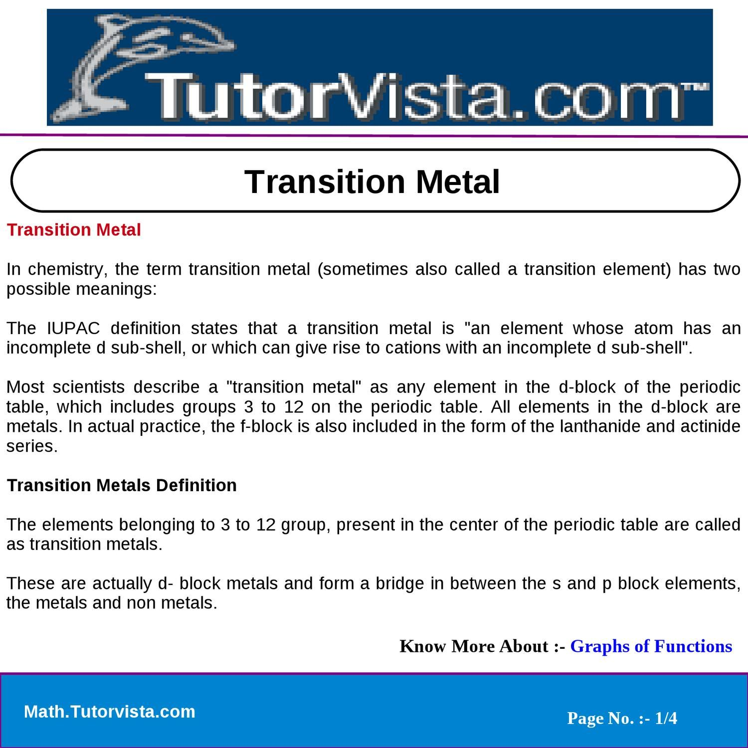 Definition Of Transition Elements In The Periodic Table
