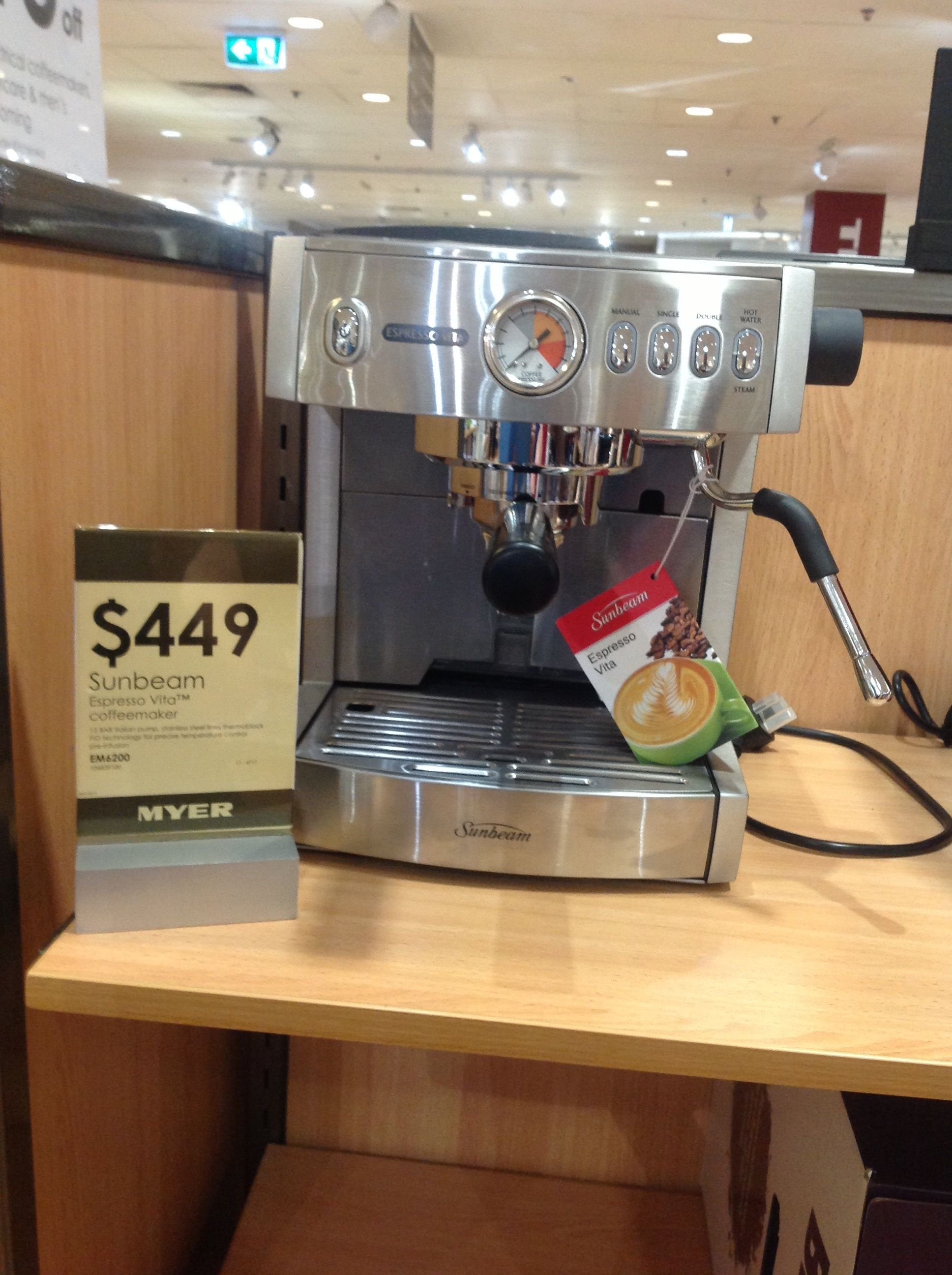 Samantha, Myer.  Sunbeam Espresso Vita coffee machine, $449.00