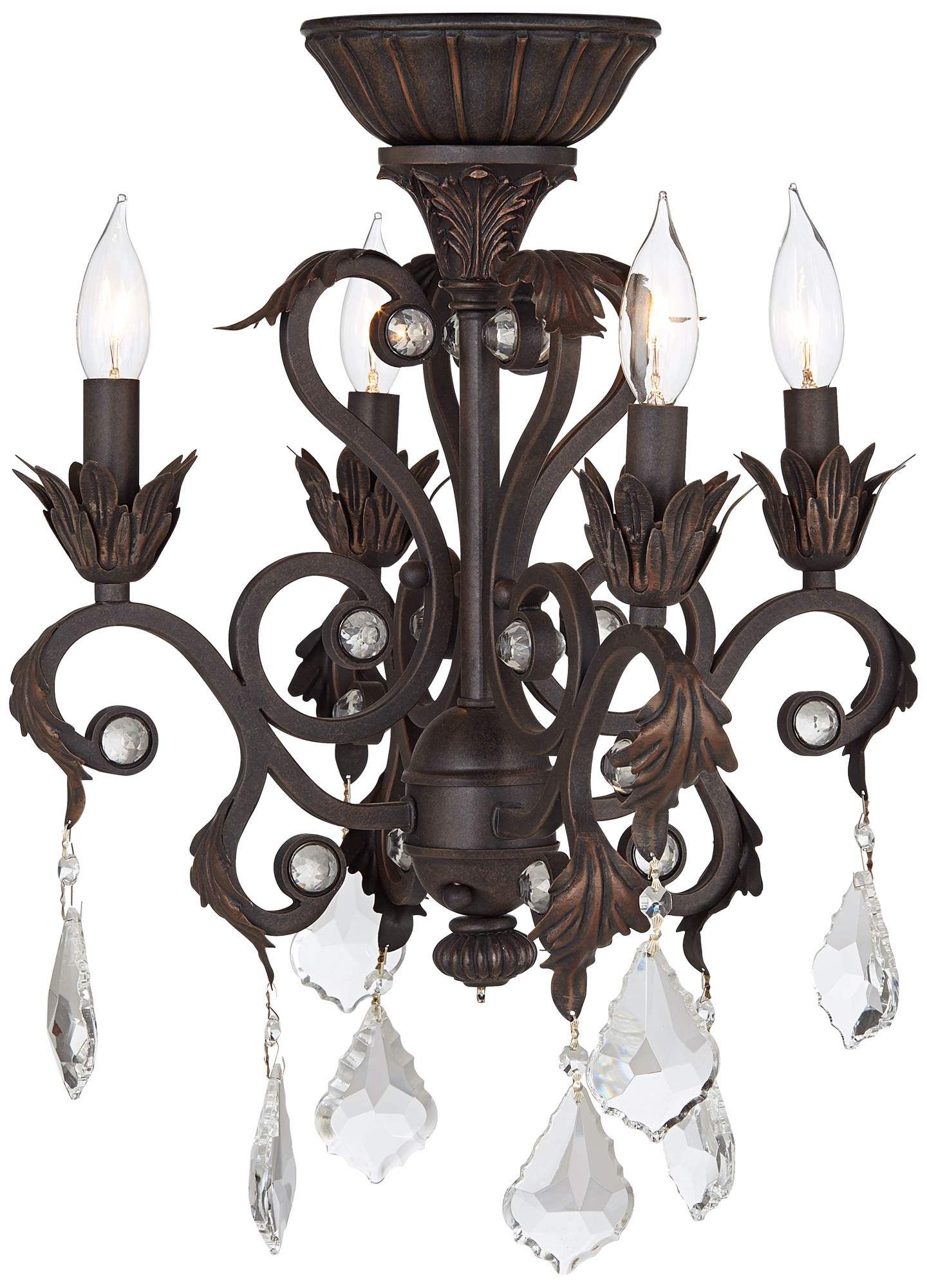 4 Light Oil Rubbed Bronze Chandelier Ceiling Fan Light Kit