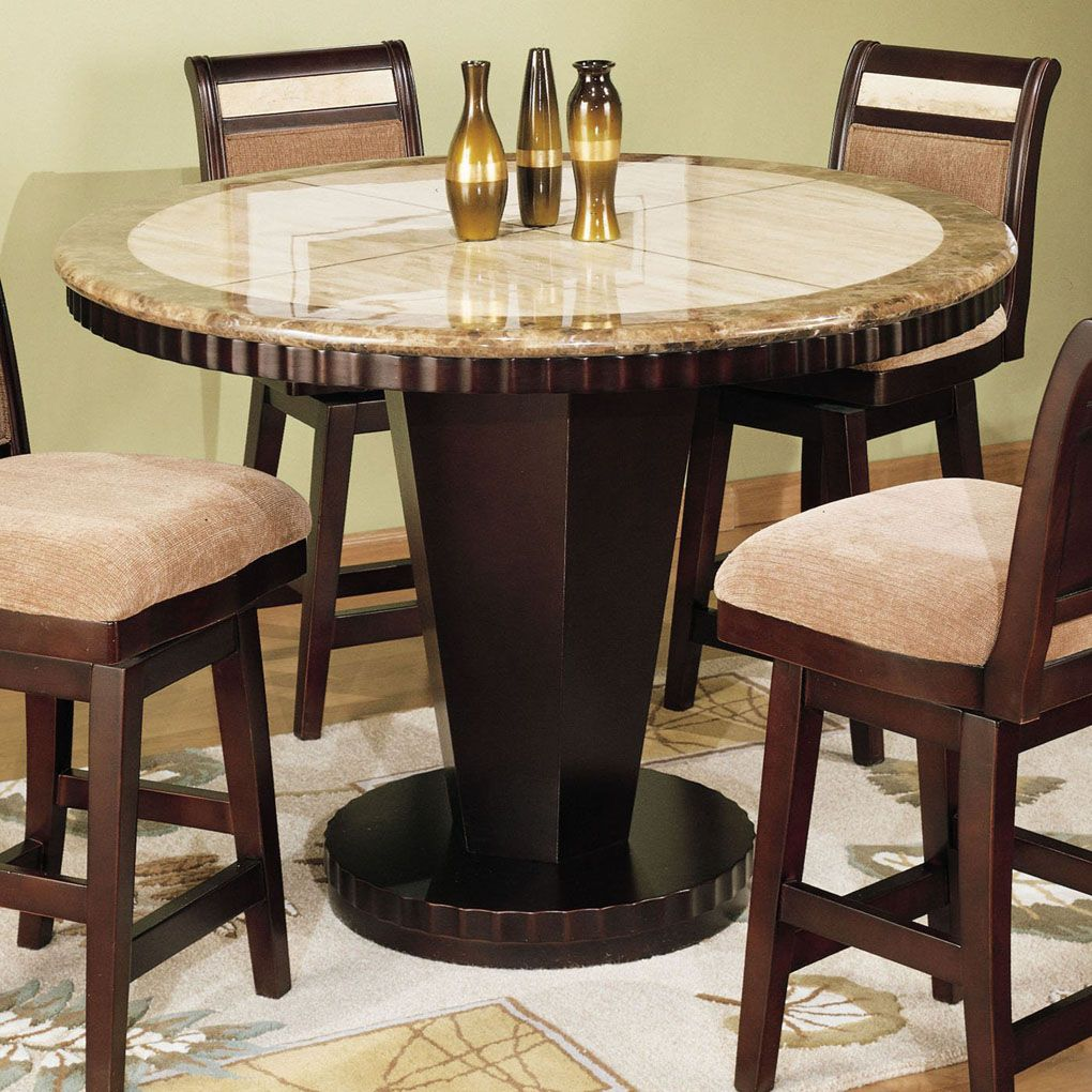 Counter Height Pub Table Sets | Corallo Round Counter Height Dining Table · Marble  Top ...