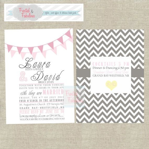 Country Chic Wedding Invitation Double-Sided by FrostedandFabulous