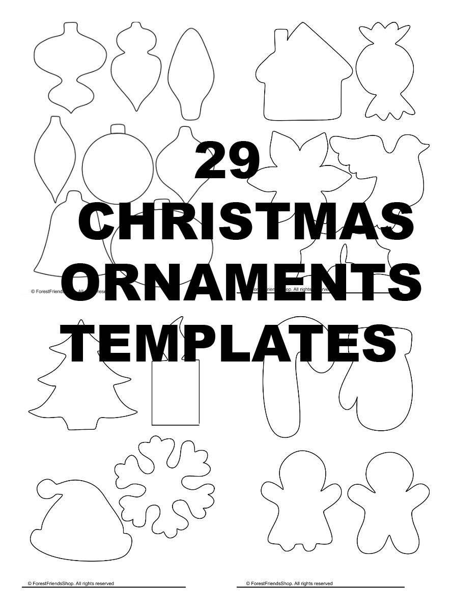 Christmas Ornaments Templates Pdf Instant Download Diy Etsy Christmas Ornament Template Ornament Template Felt Christmas Ornaments