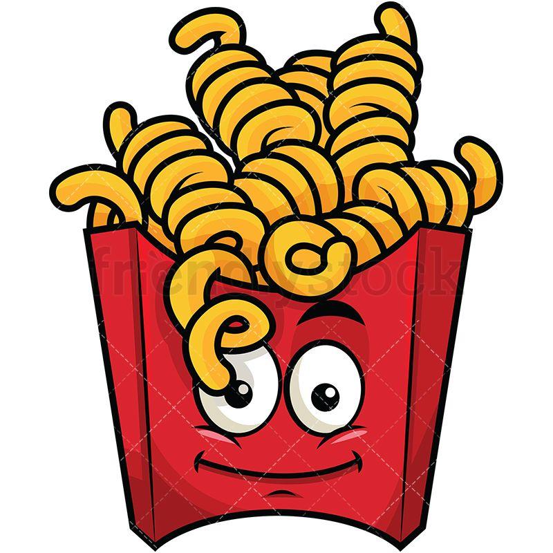 Curly French Fries Emoji Cartoon Vector Clipart Friendlystock Beach Themed Crafts Burger Cartoon Cartoon Stickers