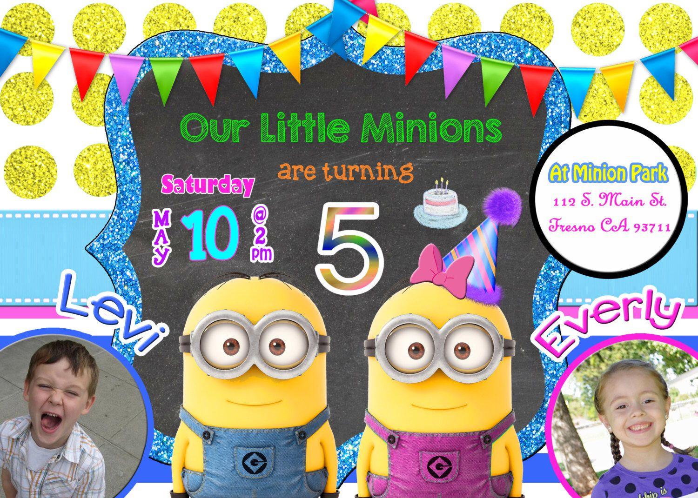 Minion Twins Birthday Party Invitation Invite Twin Minions