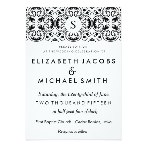 "Black and White Spanish Tile Wedding Invitation 5"" X 7"" Invitation"