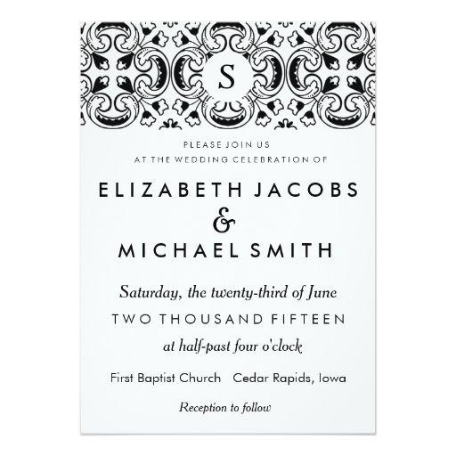 Black White Spanish Tile Wedding Invitation Zazzle Com