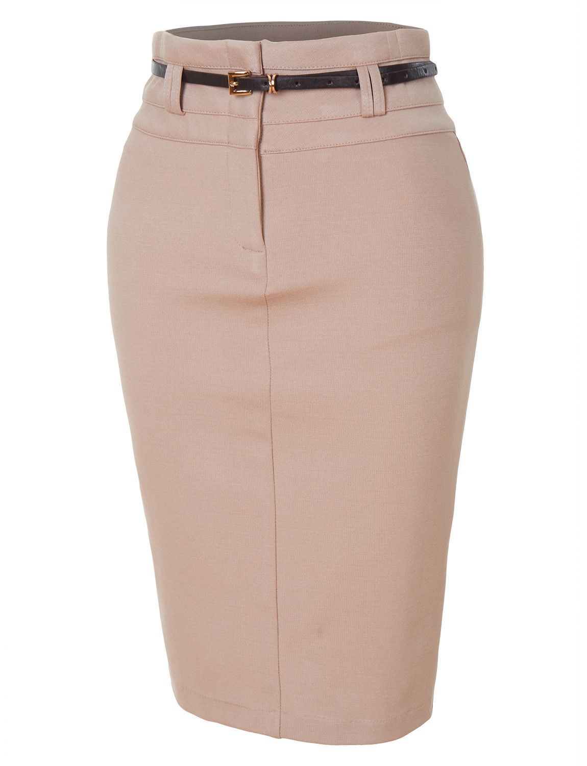 6a5a02b0fb This fitted stretchy bodycon midi pencil skirt with faux leather belt will  fit amazingly on the body. It is made with stretch that will leave you ...