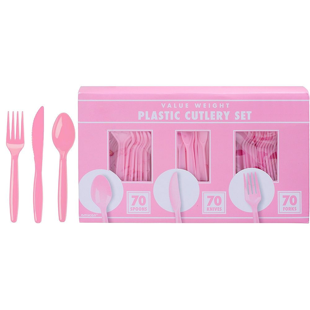 Big Party Pack Pink Value Plastic Cutlery Set 210ct | Party City