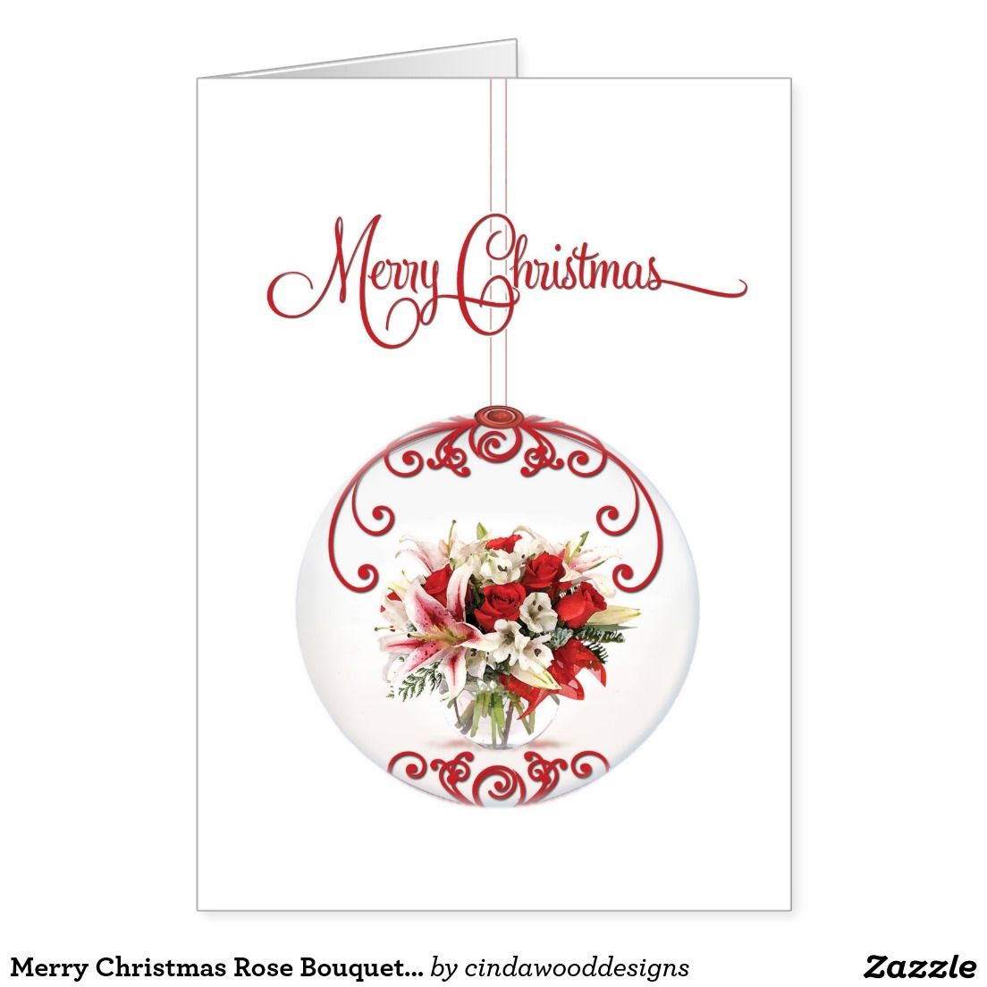 Merry Christmas Rose Bouquet Ornament For Business Card Christmas