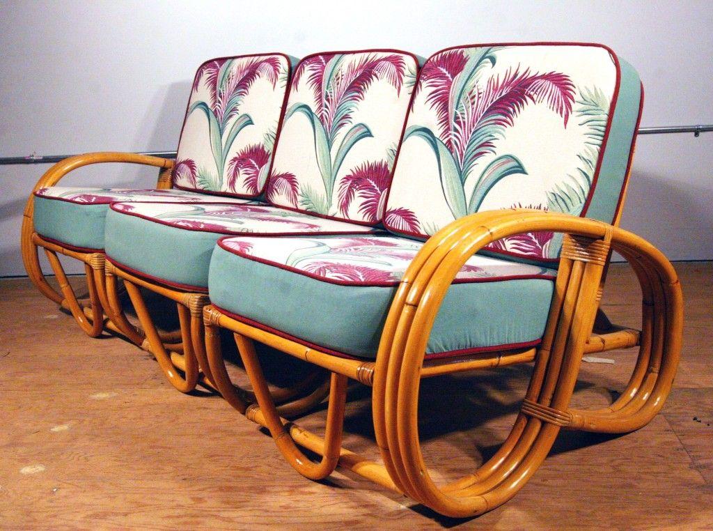 1940 Furniture Styles | Paul Frankl Style 1940s Three Strand Reverse  Pretzel Rattan Sofa Image