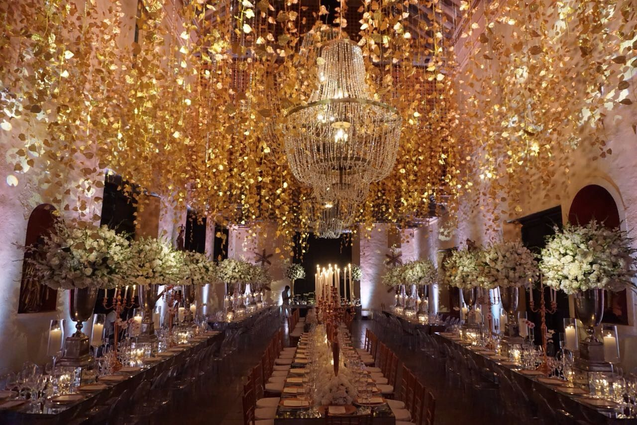 Rose Gold Wedding Ceiling Decor Cartagena Destination Planner Team