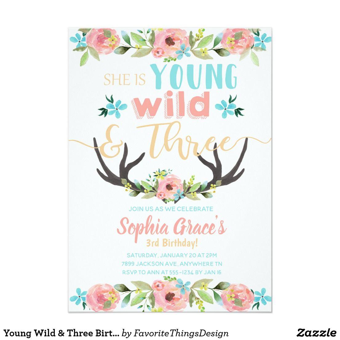 Young Wild & Three Birthday Invitation   Young Wild & Three ...