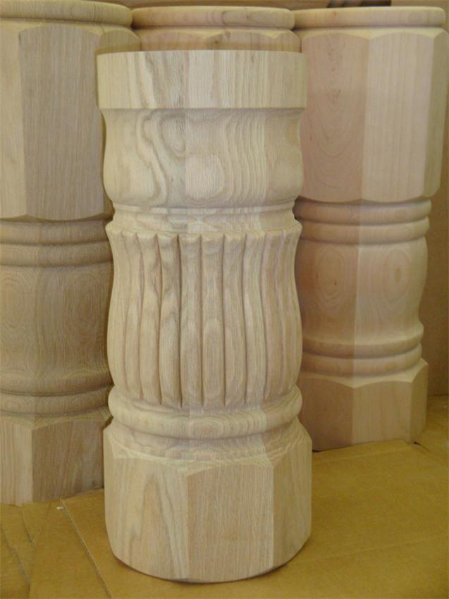 Amish Unfinished Reeded Pedestal Table Column