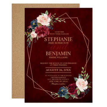 Invitación boda geométrico moderno floral de la Ma