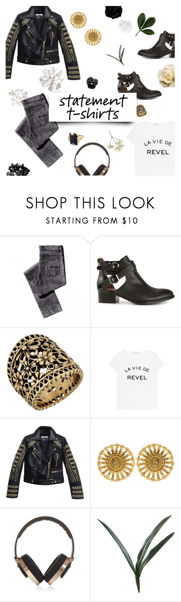 """La Vie de Revel"" by clampigirl ❤ liked on Polyvore featuring Jeffrey Campbell, Lucky Brand, Kasturjewels, Pryma, Marni, Leather, blackandwhite, Tshirt, goldjewelry and statementtshirt"