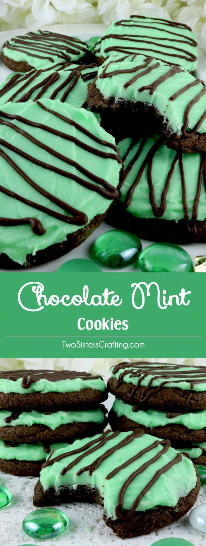 Chocolate Mint Cookies - sweet, chocolatey and covered with our deliciously creamy Mint Buttercream Frosting. These yummy frosted cookies are easy to make and taste just like a Thin Mint Cookie or a bowl of Chocolate Mint Ice Cream. Pin this yummy Cookie Recipe for later and and follow us for more great Cookie Ideas. #chocolatefrosting