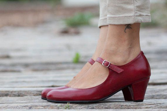 Red Leather Shoes, Red Pumps, Heeled Leather Pumps