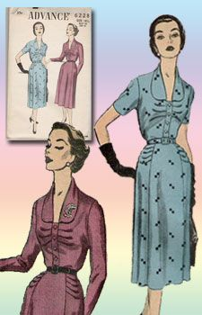 advance 6228 dress pattern with horizontal pleats and rounded collar