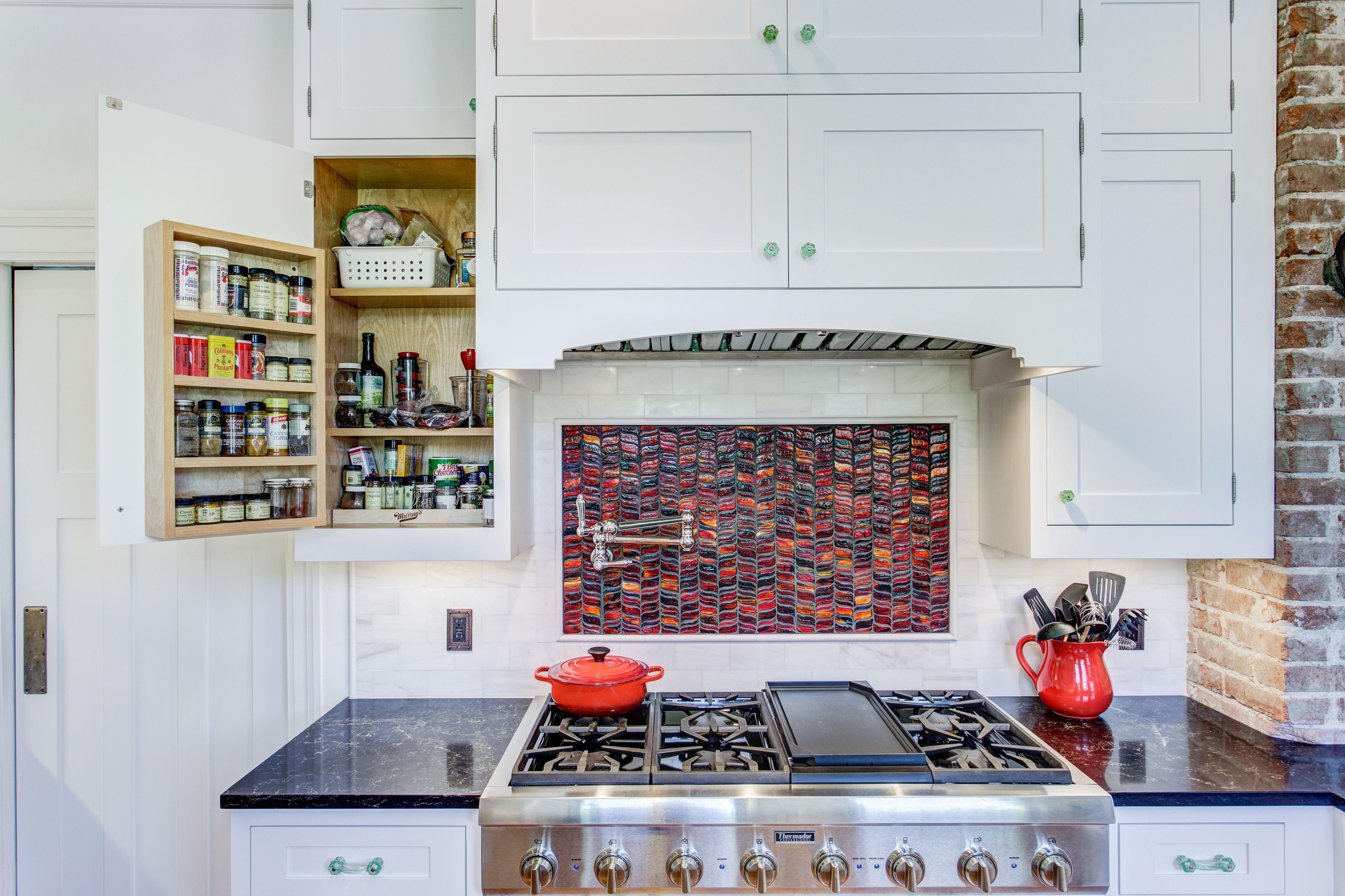 Spice rack insert on cabinet door   Elmwood Cabinetry ...
