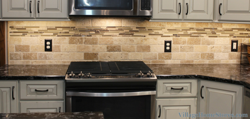 Tumbled travertine tile backsplash with accent strip for Travertine accent tile