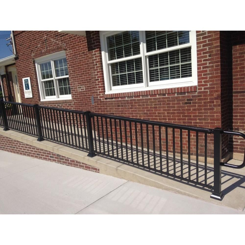 Ez Handrail 6 Ft X 36 In Textured Black Aluminum Baluster Railing Kit Ez6rhb The Home Depot Deck Railings Outdoor Screen Panels Aluminum Balusters
