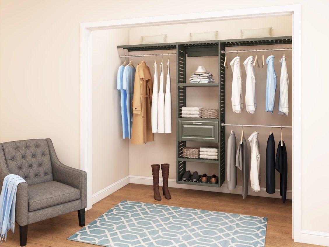 Allen Roth 8 Ft W X 6 6 Ft H Antique Gray Wood Closet Kit Lowes