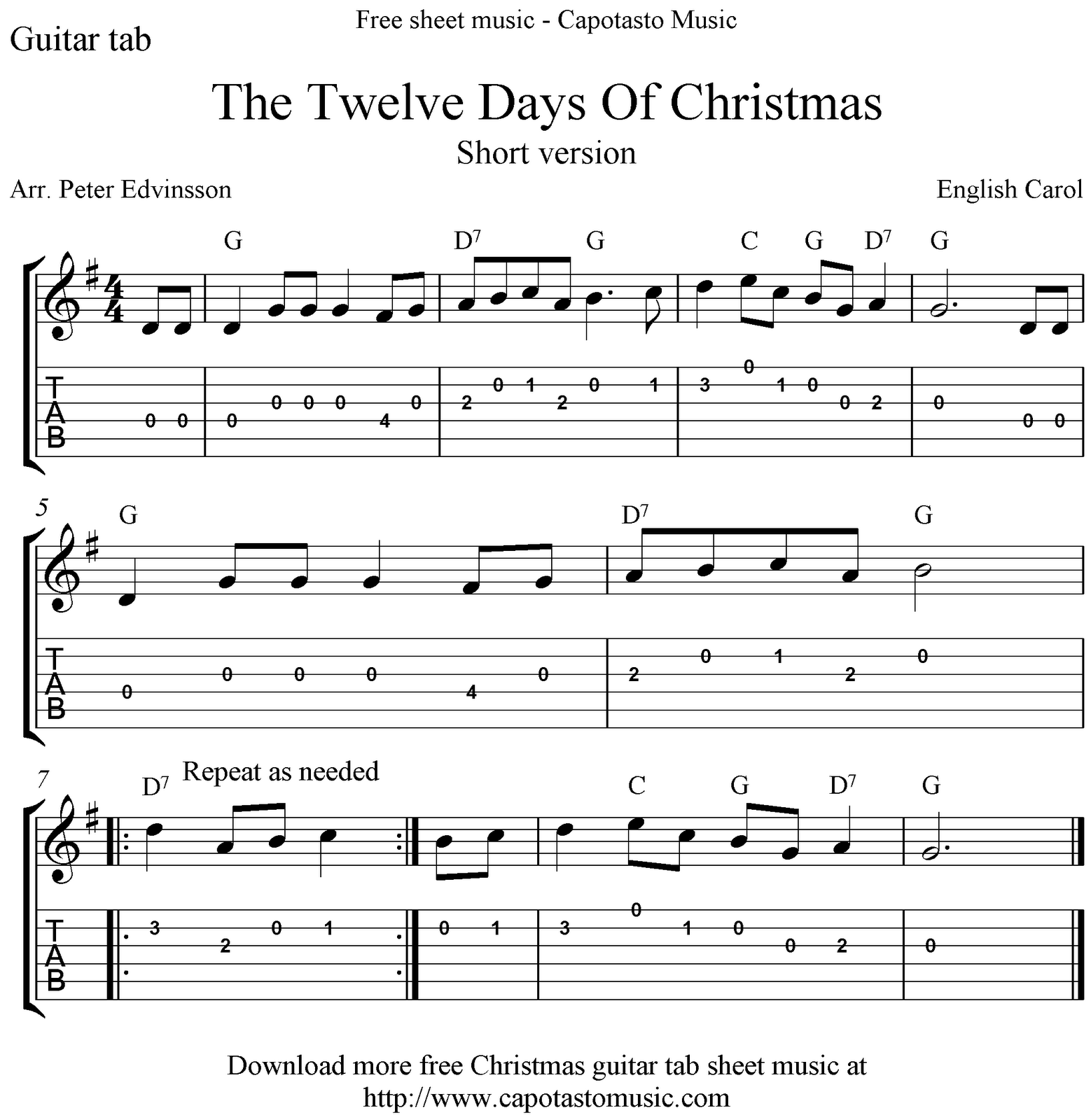 Free Sheet Music Scores The Twelve Days Of Christmas