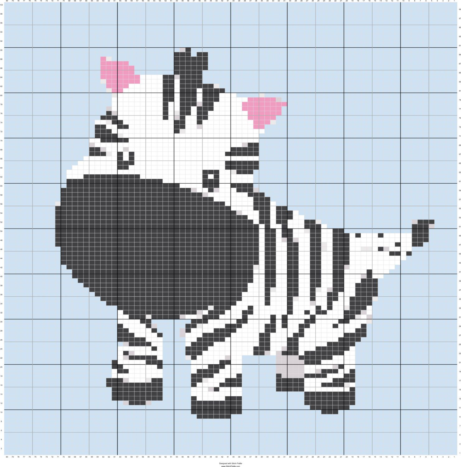 Baby Zebra Intarsia Knitting Chart, Fiber Art Designs, Knitting ...