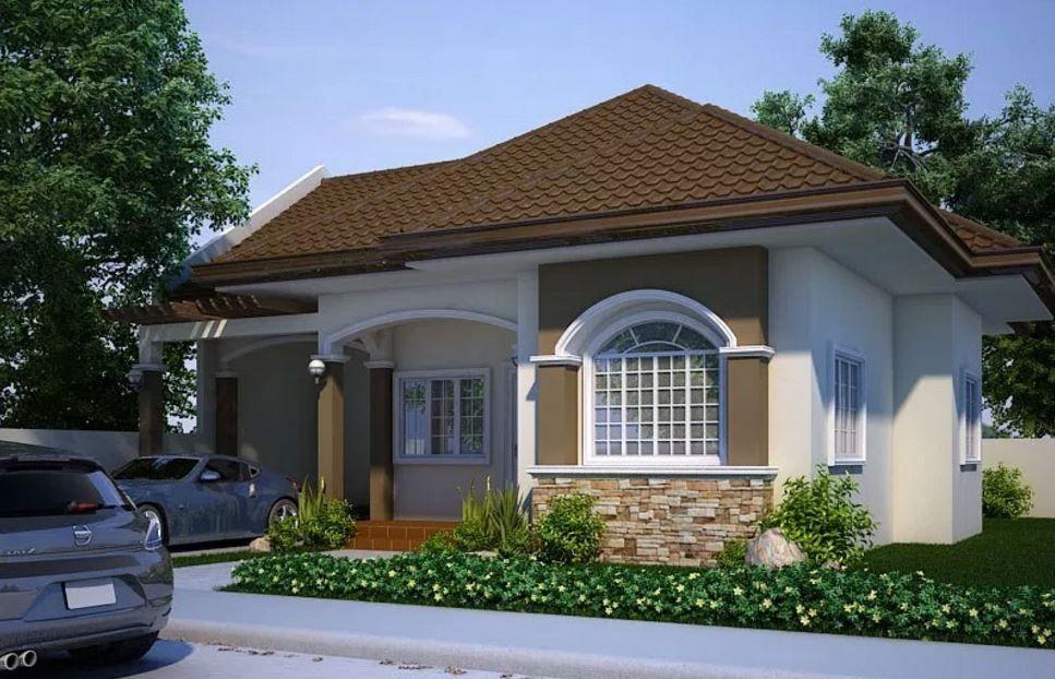Fachadas de casas con techo a 4 aguas y ventanas en arco for Techos planos modernos