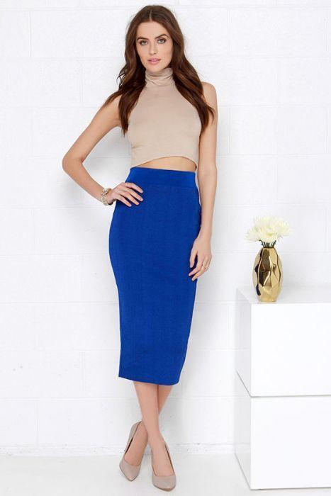 82677e06d 31+ Ideas Maravillosas de Outfits en Color Azul | Coisas para vestir |  Looks e Ocasião