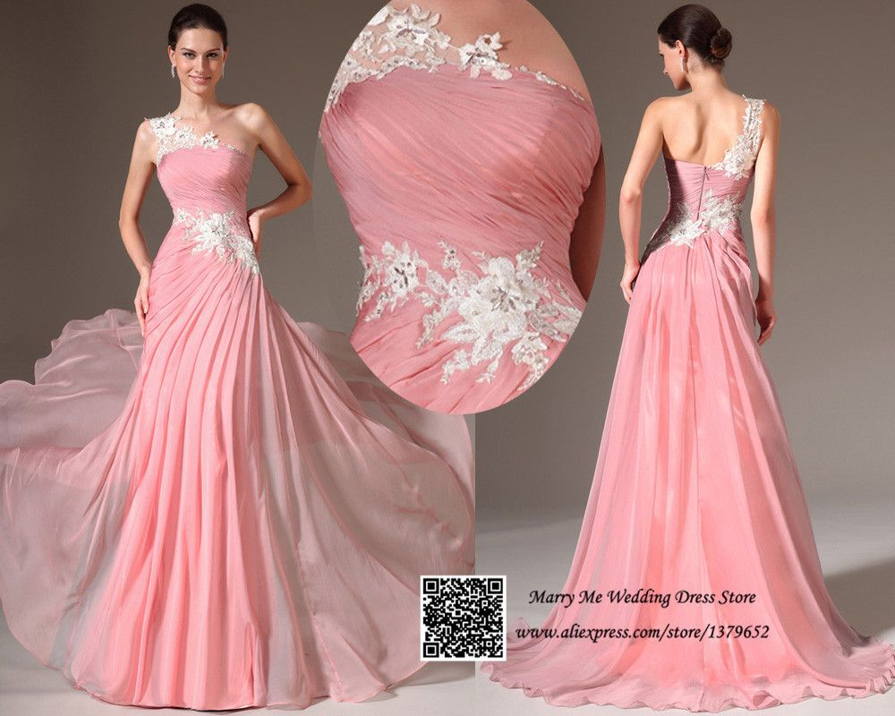Vestidos De Noche 2015 Pink Ruched One Shoulder Lace