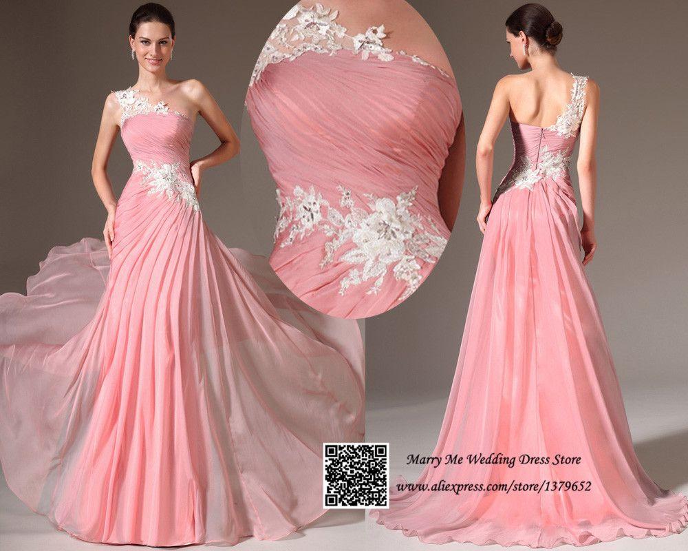 Vestidos-De-Noche-2015-Pink-Ruched-One-Shoulder-Lace-Evening-Prom ...