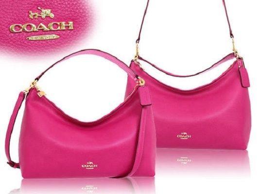 325744f746 Coach Pebble Leather Celeste Medium Hobo Shoulder Bag Crossbody Pink Ruby   Coach  Hobo