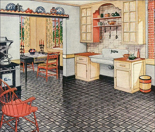 7 Basement Ideas On A Budget Chic Convenience For The Home: 1926 Armstrong Kitchen Ad