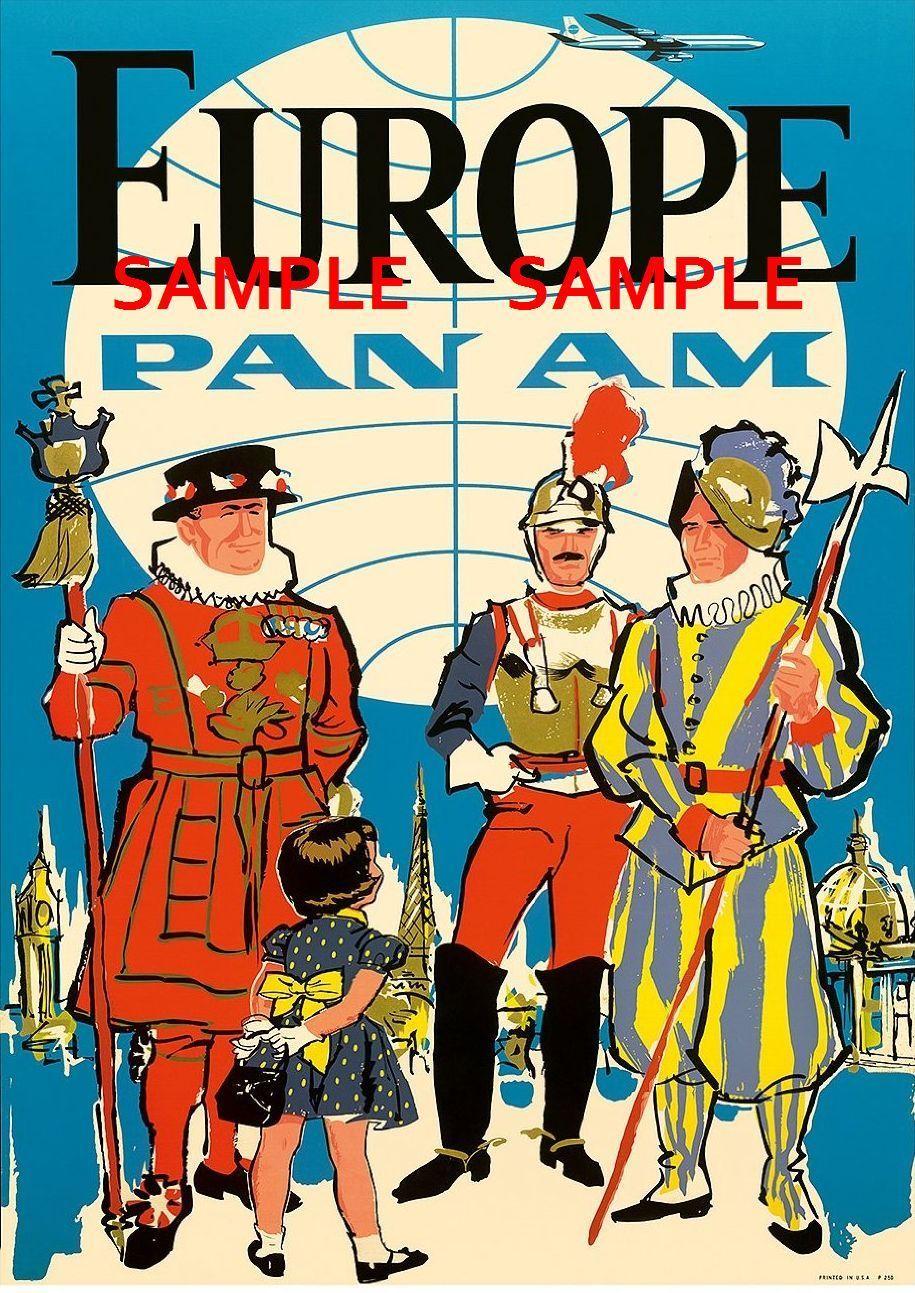 """Pan American Air Lines 8.5/"""" X 11/""""  Travel Poster BRITAIN"""