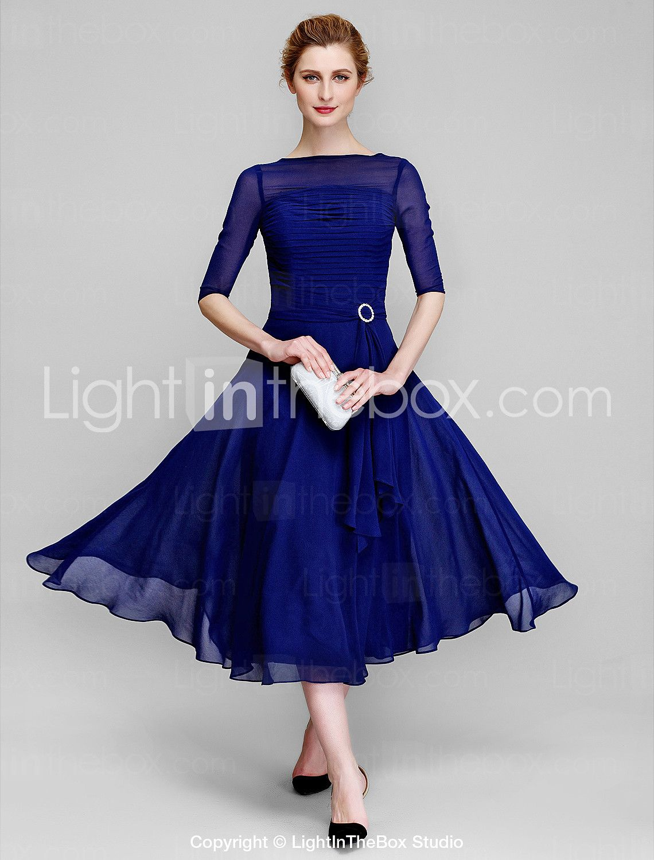 Aline bateau neck tea length chiffon mother of the bride dress with