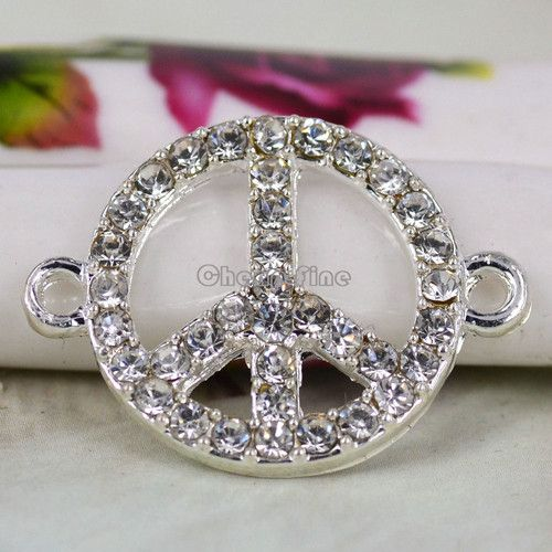 10 Pcs Sliver Tone Rhinestone Peace Style Charm Connector 20x27mm A500 | eBay