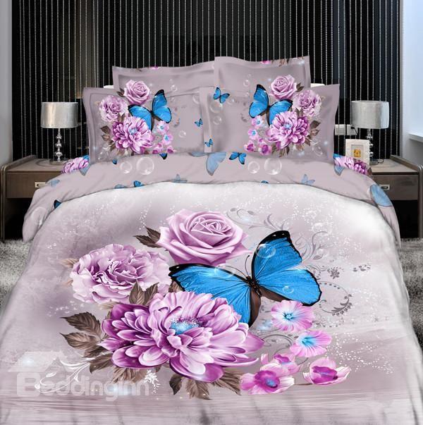 3d Blue Butterfly Surrounding Purple Flowers Printed Cotton