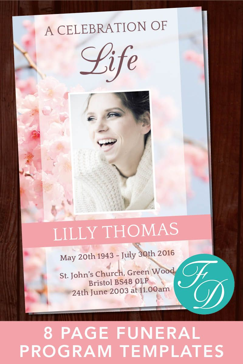 funeral program template celebration of life obituary template